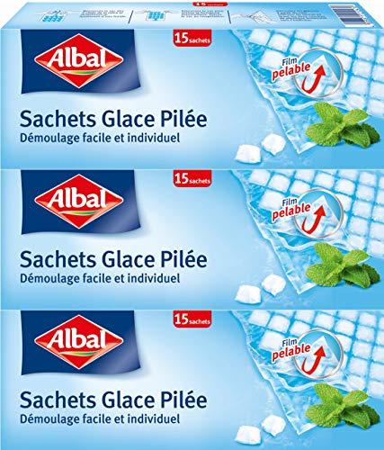 Albal 15 Sachets Glace Pilée, Fermeture Automatique, Film Pelable, Démoulage Facile, 65 Cubes par Sachet - Lot de 3