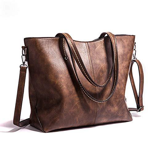 Only50 Bolso Mujer shopper piel suave y resistente al agua. COLOR MARRÓN CHOCOLATE. Se puede llevar a mano o colgado de un hombro y cierre con cremallera. Color Marrón Chocolate