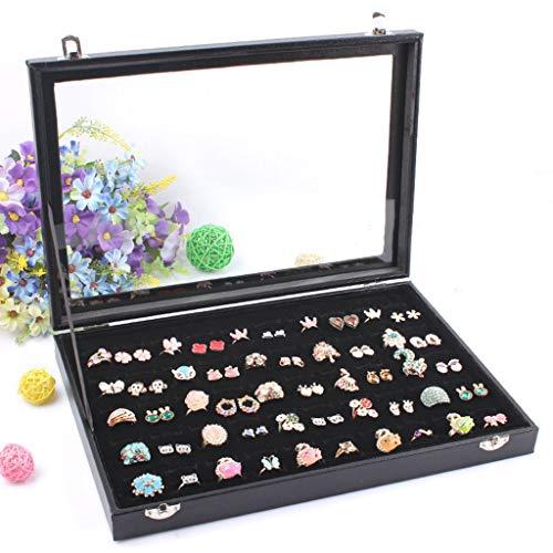 Lenhart - Caja organizadora de 100 anillas para joyas, color negro con tapa transparente