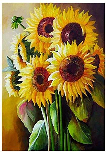 1 Pcs DIY 5D Diamond Painting Kits Sunflower Diamond Painting Full Diamond Rhinestone Embroidery Painting Living Room Bedroom Home Hanging Picture Decor Art Crafts Mural, 40 * 50cm