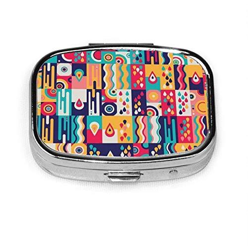 Estuche de pastillas cuadrado con patrn de gota de agua Retro colorido, caja porttil, monedero, tableta, soporte para medicamentos, estuches organizadores de viaje
