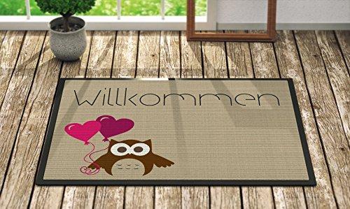 Loose Werbetechnik Fußmatte 'Herzlich willkommen' Eule mit Luftballon's, Fußmatte:50 x 70 cm