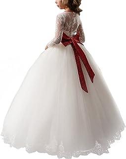 8eda91492ee65 Fille Appliques Robe de Princesse Longue en Dentelle Robe de Première  Communion Baptême Demoiselle d'