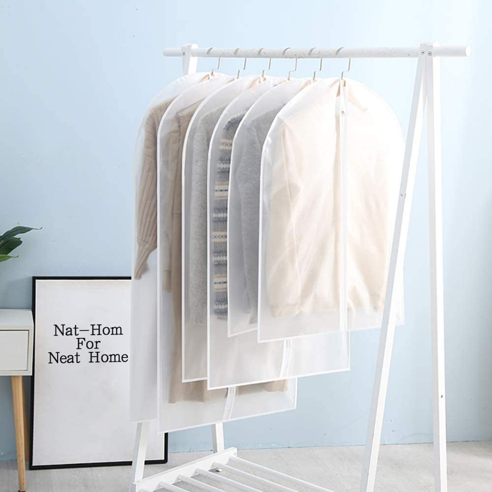 Clear Moth Proof Suit Cover,Breathable Dust and Waterproof PEVA Garment Protector Covers for Storage or Travel Nat-Hom 6 Pack Lightweight Hanging Garment Bag 24x40//48//55-6pcs