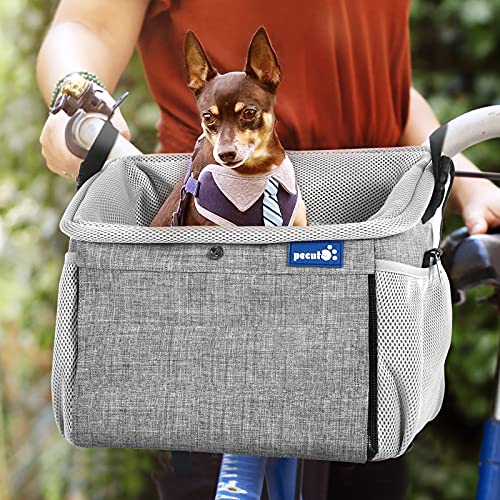 pecute Pet Carrier Bag Multifunctional-Dog Bicycle Basket Bag+Backpack+Shoulder Bag+Car Travel Carrier 4 in 1 Portable Breathable Dog Carrier,Great for Cats Puppy Small Dogs Travelling and Outdoors