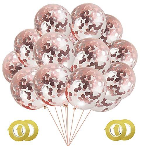 Gxhong 50 Pezzi di Palloncini Coriandoli Oro Rosa, 12'' Palloncini in Lattice con Coriandoli Rotondi in Carta Dorata Palloncini Elio per Decorazioni per Feste di Fidanzamento