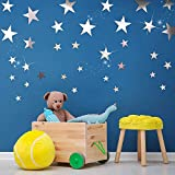 32 Pieces Removable Star Mirror Stickers Acrylic Mirror Setting Wall Sticker Decal for Home Living Room Bedroom Decor, Silver