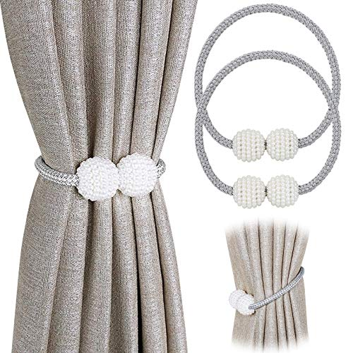 PINOWU [2 Pack] Magnetic Curtain Tiebacks Convenient Drape Tie Backs Pearl Decorative Rope Holdback Holder for Small, Thin or Sheer Window Drapries (Gray)