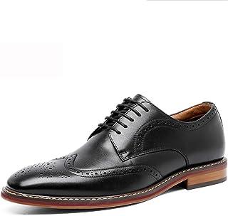 Gowell Zapato Brogue con Cordones Oxford Zapatos Retro para Vestido Elegante Plano de Oficina de Boda de Ajuste Ancho Negr...
