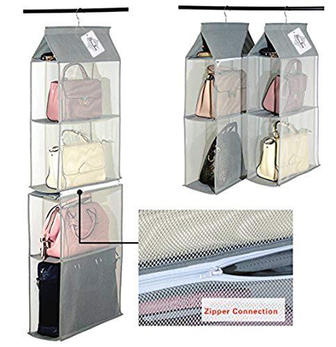 Organizador de armario ropero para colgar compuesto por 4 compartimentos desmontables, transparentes, ahorro de espacio, para uso en hogar, salón, dormitorio (paquete de 2, color gris)