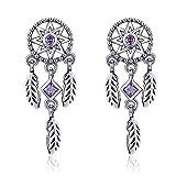 925 Sterling Silber Vintage Traumfänger Tropfen Ohrringe für Frauen lila Zirkonia Sterling Silber Schmuck