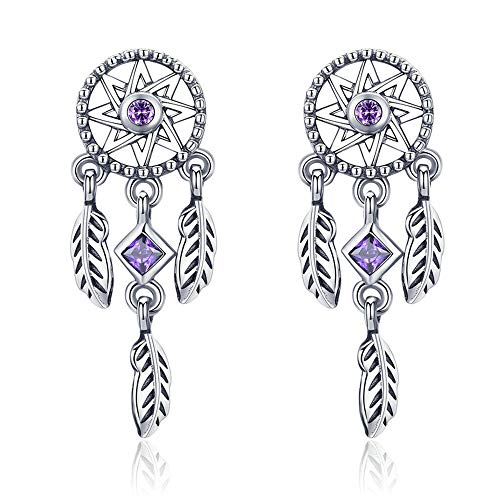 925 Sterling Silver Vintage Dream Catcher Drop Earrings for Women Purple Cubic Zircon Sterling Silver Jewelry