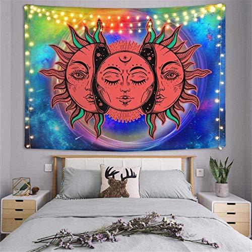 NULINULI Tarot Tapiz Sol Y Luna, Tapiz MíStico PsicodéLico para Colgar En La Pared, DecoracióN De Pared De Mandala Indio DecoracióN del Hogar para Dormitorio L 05