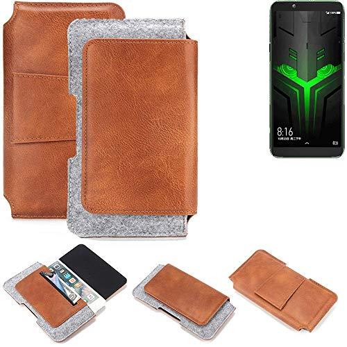 K-S-Trade® Schutz Hülle Für Xiaomi Blackshark Helo Gürteltasche Holster Gürtel Tasche Schutzhülle Handy Smartphone Tasche Handyhülle PU + Filz, Braun (1x)
