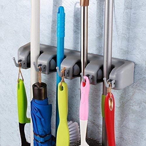 Ontime Multipurpose Wall Mounted Mop and Broom Holder (Silver) product image