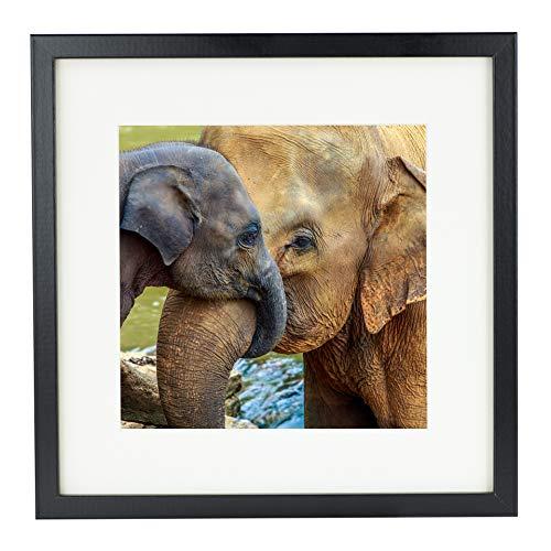 BD ART 28 x 28 cm Cadre Photo Carré avec Passe-Partout 20 x 20 cm, Noir
