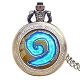 Juego Caliente Wow World of Warcraft Hearthstone Theme Glass Dome Case Reloj de Bolsillo de Cuarzo con Collar de Cadena Oro