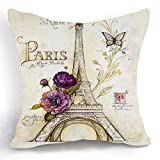 Funda para cojín de algodón lino de 45 cm estilo retro vintage con dibujo de la torre Eiffel de París y flor morada, decoración para el hogar