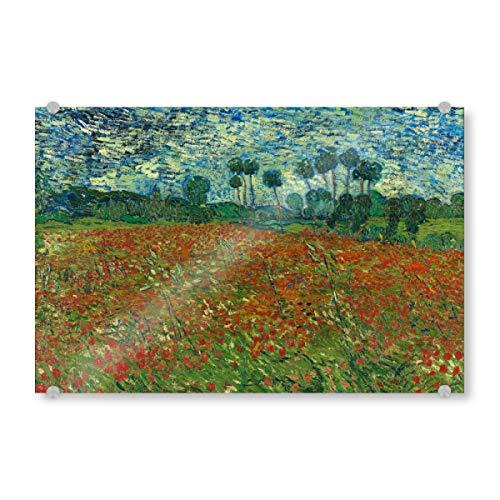 artboxONE Acrylglasbild 30x20 cm Natur Mohnfeld von Vincent Van Gogh Bild hinter Acrylglas - Bild mohnfeld Feld Field