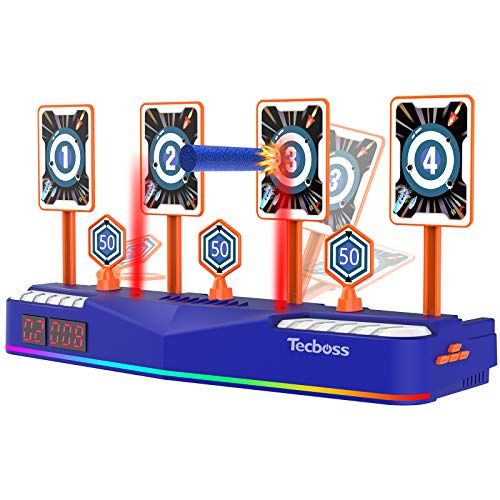 TECBOSS Electronic Shooting Targets Scoring Auto Reset Digital Targets for Nerf Guns Toys - Lights & Sound Effects, 3 Timers Modes & RGB Lights - Ideal Gift for Kids