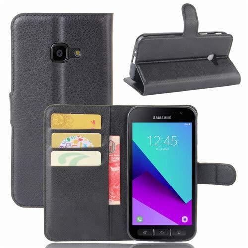 betterfon | Buch Tasche Hülle Etui Book Hülle Cover Schutz Hülle Handy Tasche für Samsung Galaxy XCover 4 Schwarz