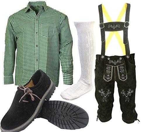 ALL THE GOOD S 4 Trachtenset (Hose +Hemd +Schuhe +Socken) Bayerische Lederhose Trachtenhose Oktoberfest Leder Hose Trachten (Hose 46 Hemd 36/37 Schuhgröße per Email)