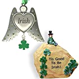BANBERRY DESIGNS Irish Gift Set - Angel Wings Ornament with Green Shamrock Charm - Garden Stone with Leprechaun - St. Patrick's Day Decorations