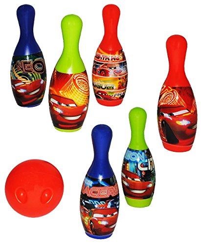 alles-meine.de GmbH 7 TLG. Set Kegelspiel / Bowling - Disney Cars Lightning McQueen - aus Kunststoff / Plastik - für Außen + Innen - Bunte Farben Kegeln Kegel - für Kinder / ..