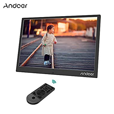 Andoer 13inch LED Digital Photo Frame 1280 800 Resolution Support 1080P Video Shuffle Play Aluminum Alloy with Remote Control Christmas Birthday Gift (Black)