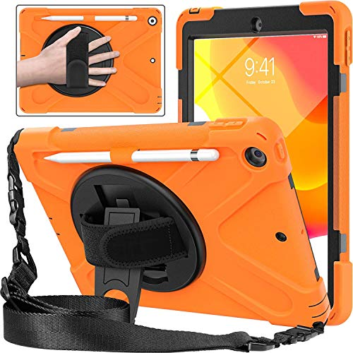 Funda para iPad 10.2 2019, resistente, resistente a los golpes, resistente a las caídas, funda híbrida duradera con soporte para lápiz, correa de mano, soporte giratorio de 360 grados, correa para el hombro para iPad de 7ª generación, color naranja