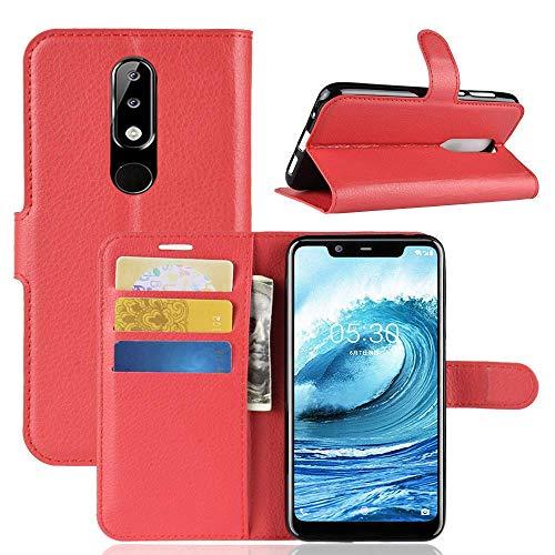 Lapinette Hülle Kompatibel mit Nokia 5.1 Plus - Schutzhülle Klappbar Stoßfeste Folio - Lederhülle Nokia 5.1 Plus - Wallet Kartenfächer Standfunktion Magnet Rot