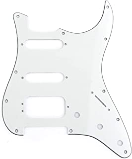 Musiclily Pro 11-Hole Round Corner HSS Guitar Strat Pickguard for USA/Mexican Stratocaster 3-screw Humbucking Mounting Open Pickup, 3Ply Parchment