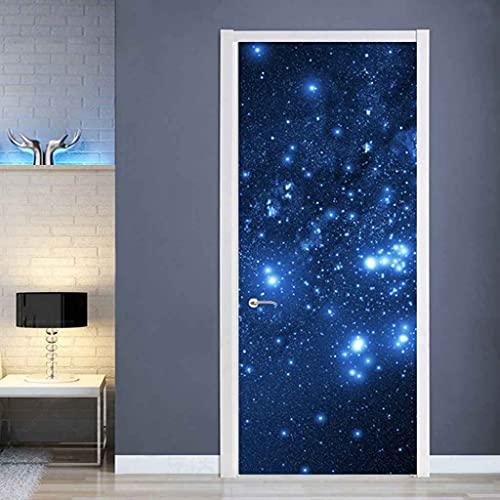 NXCNTD Calcomanías de las puertas en 3D Escena de la noche estrellada azul 80x210cm Vinilo Impermeable Extraíble Murales de Papel Decorativos Para el Hogar Baño Sala de estar Dormitorio Decoración