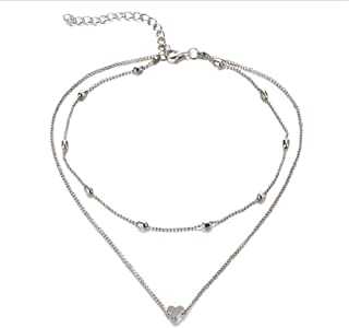 """Zen Styles Small Floating Heart Double Chain Necklace, Silver or Gold Tone with Lobster Clasp, Adjustable Choker 13""""-14"""", Necklace 16"""