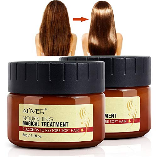 Magical Keratin Hair Treatment Mask, 2pcs Advanced Molecular Hair Roots Treatment Professtional Hair Conditioner, 5 Seconds to Restore Soft Hair, Deep Conditioner Suitable for Dry & Damaged Hair-60ml