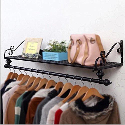 Kleiderständer Europäische Eisen Garderobe/rustikalen Stil Aufhänger/einfache Wand Rack (Größe: 60 * 28cm; Farbe: schwarz)