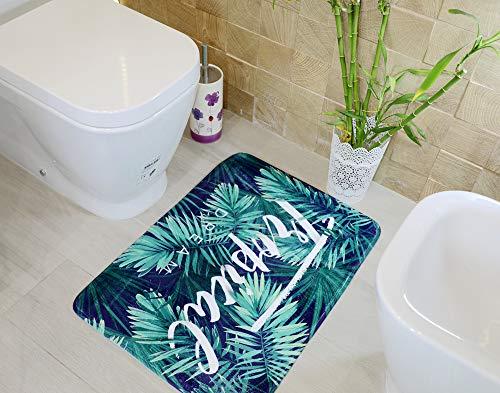 Alfombra baño Super Suave Aterciopelada con tecnología Memory Foam con Base Antideslizante y diseños Modernos y Lujo para el Cuarto de baño o Ducha (50_x_70_cm, Hojas)