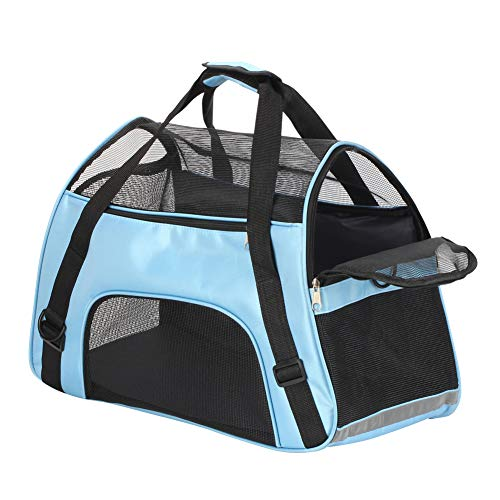 Bearhouse Transporttasche Hund Katze Hundetransporttasche Hundetragetasche Tragetasche 52 x 27 x 32 Zentimeter (Blau)