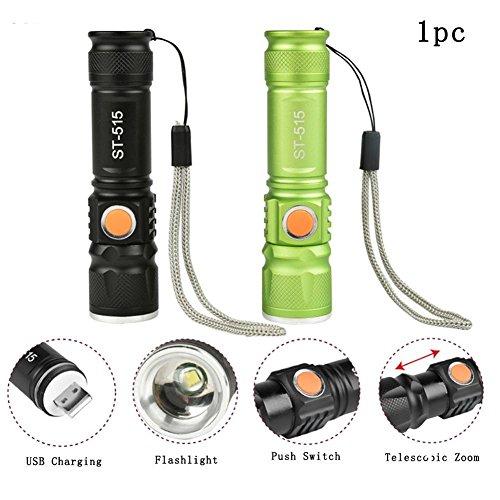 NOIR : USB Rechargeable CREE T6 LED 2000LM 3 Mode Puissante Mini Lampe Torche Zoom Lanterne Réglable pour Extérieur