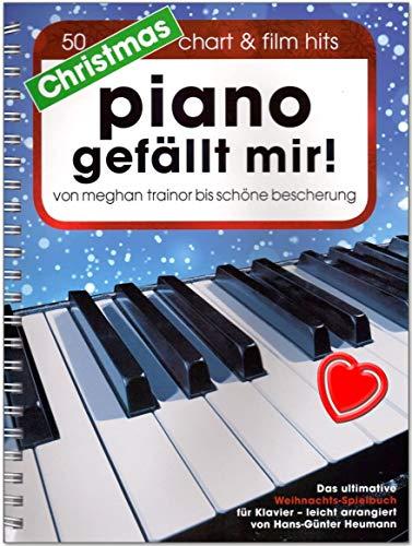 Christmas Piano gefällt mir - 50 tubes de film - Livre de jeu ultime de Noël pour piano en spirale - arrangé par Hans-Günter Heumann - Avec pince à partitions colorée en forme de cœur