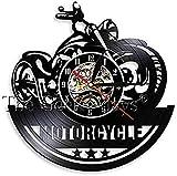 Reloj de vinilo Motocicleta Reloj de pared de vinilo antiguo Reloj de pared Taller de reparación de motocicletas Arte de pared Decoración de club de motociclistas Reloj de motocicleta Reloj (12 30 cm)