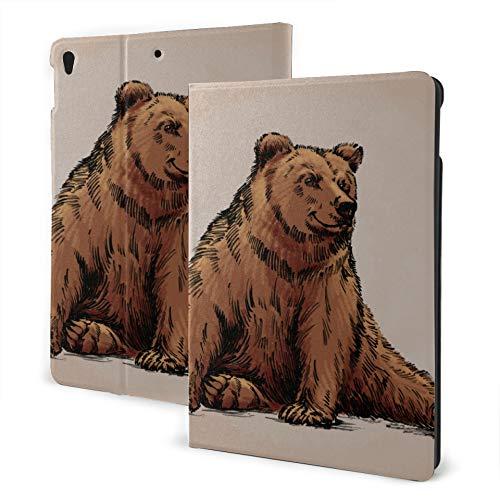 JIUCHUAN Protective Ipad Case 2019 Ipad Air3/2017 Ipad Pro 10.5 Inch Case/2019 Ipad 7th 10.2 Inch Case Russian Furry Bear Animal Ipad Cover Case Auto Wake/sleep