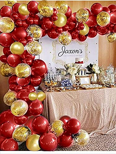 106PCS Red Gold balloons, Red Gold Balloon Arch Garland Kit Girls Women Birthday, Ballon Arch Maker Kit, Red Ballons Birthday Wedding Valentines Anniversary Party Decorations for Women Girls