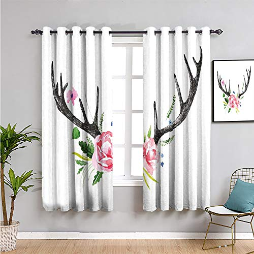 Antler Decor Black Out Curtain Panels for Bedroom, Curtains 45 inch Length Black Deer Horns with Pink Roses Floral Wreath Design in Watercolors Wildlife Bring Beauty Multicolor W63 x L45 Inch
