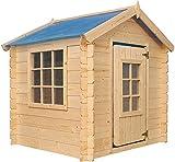 TIMBELA M570 Maisonnette en Bois - Maison de Jardin pour l'exterieur/pour l'intérieur- 105 x 105 x H121 cm - emboîtée ép. 13 mm (Toit Bleu)- Bois Naturel Non traité