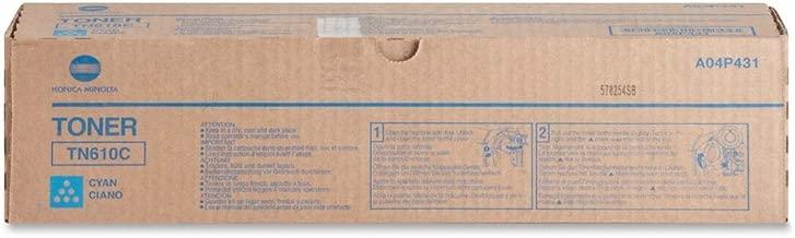 Konica Minolta Genuine Brand Name, OEM A04P431 (TN610C TN-610C) Cyan Toner Cartridge (26.5K YLD) (AKA A04P431) for Bizhub Pro C5500, Bizhub Pro C6500, Bizhub Pro C6500P Printers