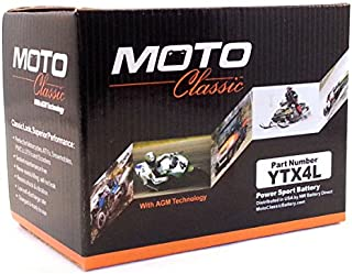 Moto Classic YTX4L Compatible 12V 4.5Ah Non-Spillable Sealed AGM 90CCA Battery - 30 Mo. Warranty Coverage