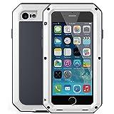 Mangix iPhone 6 Plus/6S Plus Case, Gorilla Glass Aluminum Alloy Metal Extreme Bumper Finger Scanner Cover Shell Case for Apple iPhone 6 Plus/6S Plus 5.5inch(White)