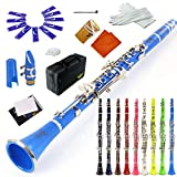 ROFFEE clarinet beginner student level 26N B flat ocean blue ABS nickel plated 17 keys Bb tone with 2 berrels,case,10 reeds,mouthpiece and more