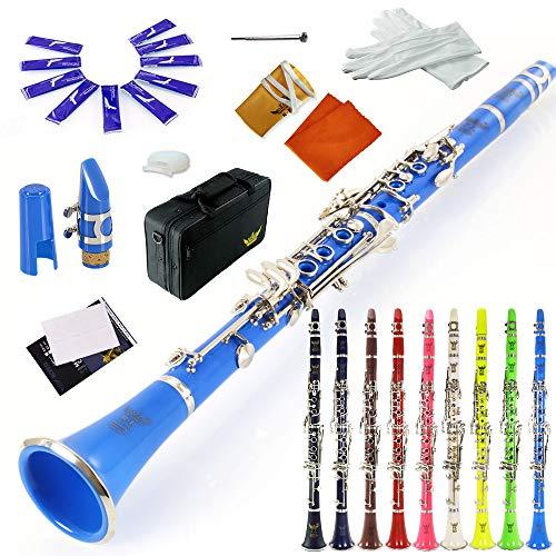 Clarinete ROFFEE para principiantes, nivel 26N B, plano, azul, ABS, niquelado, 17 teclas, tono Bb con 2 berrels, funda, 10 lengüetas, boquilla y más